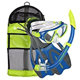 U.S. Divers Dorado II Kids Snorkel Set (Yellow/Blue). Youth Snorkel Mask, Snorkel, Fins, and Gear Bag (Large, 5-8)