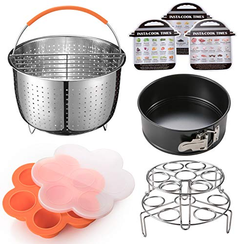 Pressure Cooker Accessories Set, Compatible with Instant Pot 6 and 8 Qt, Includes Steam Basket with Divider, Springform Pan, Egg Bites Mold, Stackable Steam Racks, Magnetic Cheat Sheet, by Goldlion