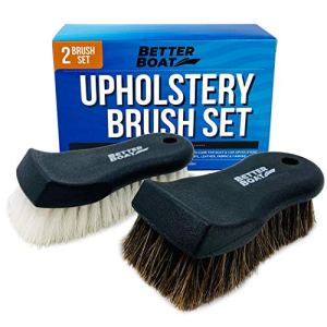 Upholstery Cleaner Scrub Brush Set Cleaning Brush and Horsehair Detailing Brush for Car Interior, Seats, Boat, Couch…