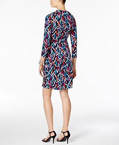51ZWDalib9L Printed Wrap dress 3/4 sleeve v-neck short dress