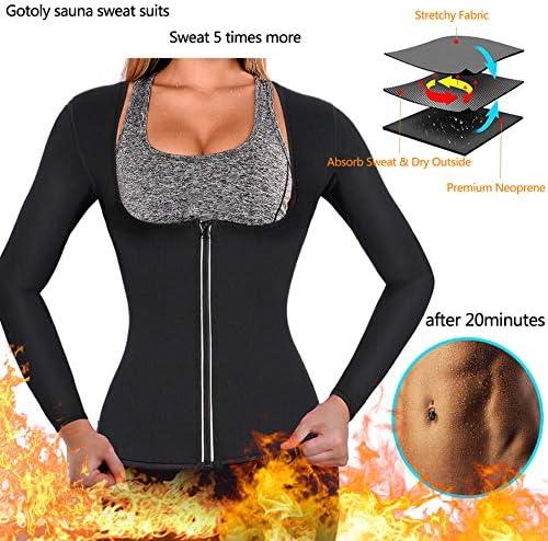 Gotoly Women Waist Trainer Hot Neoprene Shirt Sauna Suit Sweat Body Shaper Jacket Top Zipper Long Sleeve 2