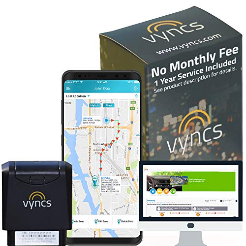 GPS Tracker for Vehicles Vyncs No Monthly Fee Real Time Tracker 1 Year Data Incl. USA & Worldwide SIM Car Tracker OBD Trips, Driving Alert, Engine Data for Teens, Seniors, Family, Auto, Fleets - Alexa