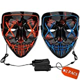 Halloween Mask LED Light up Mask (2 Pack) Scary mask for Festival Cosplay Halloween Costume Masquerade Parties,Carnival (Red + Blue)