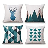 DR.NATURE Geometric Designs Cotton Linen Decorative Throw Pillow Case Cushion Cover Pillowcase for Sofa 18 x 18 Inch Set Of 4 (GEO10)