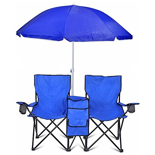Blue Portable Folding Picnic Double Chair Umbrella Table Cooler Beach Camping Chair New