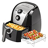 Secura Electric Hot Air Fryer Extra Large Capacity Air Fryer and additional accessories; Recipes and skewers accessory set (5.3Qt Sliver)