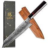KATSU Kiritsuke Chef Knife - Damascus - Japanese Kitchen Knife - 8-inch - Handcrafted Octagonal Handle - Wood Sheath & Gift Box
