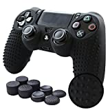 Pandaren PS4 Controller Grip,STUDDED Anti-slip PS4 Controller Cover Silicone Skin for PS4 /SLIM /PRO controller(Black controller skin x 1 + FPS PRO Thumb Grips x 8)