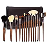 ZOREYA Makeup Brushes Set Walnut Professional Synthetic 15pcs High End Make up Brush Set For Cosmetic Make Up Contouring Powder Contour Foundation Eyebrow Eye shadow with Brush Case Holder ...