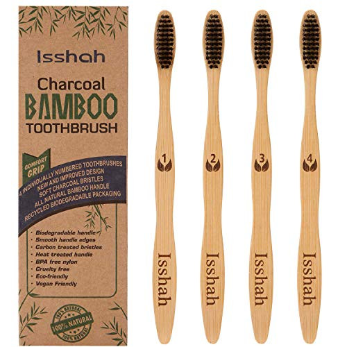 Biodegradable Eco-Friendly Natural Bamboo Charcoal Toothbrush - Pack Of 4