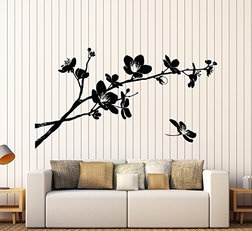 Vinyl Wall Decal Sakura Tree Branch Flowers Nature Asian Style Stickers Large Decor (1333ig) Grey
