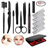 SENXILLER Eyebrow Kit Razor Pencil Brush Stencil Scissors Tweezers Grooming Kit with Mirror for Men and Women (Dark Brown Eyebrow Pencil)