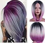 aSulis Ombre Wigs Short Bob Wigs Purple Colorful Party Wig Synthetic Daily Wig for Women 13' ¡­
