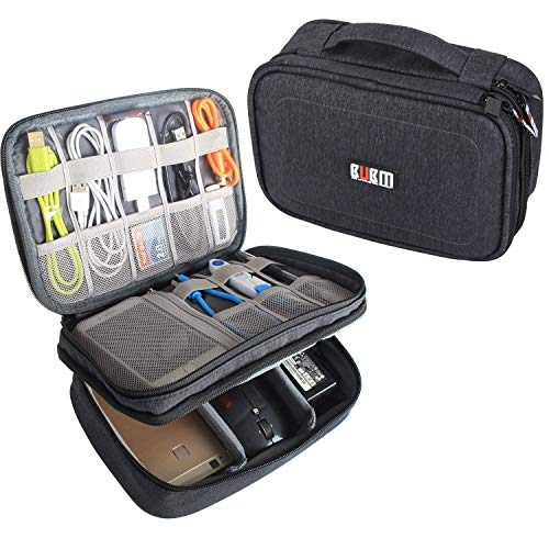 BUBM Electronic Organizer, Double Layer Travel Gadget Storage Bag for Cables, Cord, USB Flash Drive, Power Bank and More-a Sleeve Pouch for 7.9' iPad Mini(Medium,Black)
