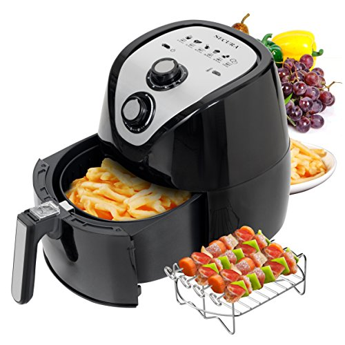 Secura 1500W Large Capacity 3.2-Liter, 3.4 QT, Electric Hot Air Fryer & Additional Accessories; Recipes, BBQ Rack & Skewers