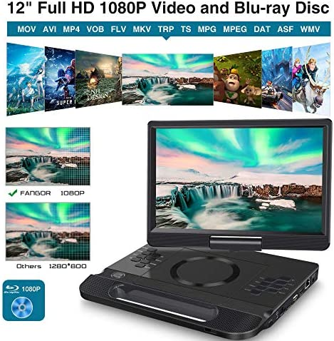 """FANGOR 13.3 Inch Portable Bluray Player with 12"""" HD Swivel Screen, 5 Hours Rechargeable Battery and Remote Control, HDMI Out/AV in, Multi-Media Player, USB/SD Card, Last Memory, Region Free 13"""