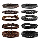 Milakoo 10 Pcs Braided Leather Bracelet for Men Women Wooden Beaded Bracelets Wrap Adjustable