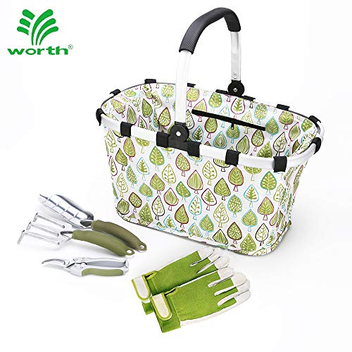 """Worth Garden Tool Set 5 pc Heavy Duty Gardening Tools Kit, 7"""" Bypass Pruner Aluminium Trowel, Cultivator, Foldable Basket, Gloves, Gardening Gifts for Woman and Man"""