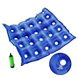 Medical Air Inflatable Seat Cushion for Wheelchair Office Home w/Pump, Ideal for Prolonged Sitting FDA Approved 17' X 17'- Blue