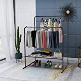 Garment Rack Metal Clothing Racks Heavy Duty Double Rail Clothes Rack Organizer 2-Tier Storage Shelf for Boxes Shoes Boots Commercial Grade Multi-Purpose Portable Entryway Shelving Home Bedroom Bronze