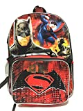 "Dc Comics Batman V Superman 16"" Large School Backpack w/ Detachable Insulated Lunch Bag"