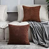 Home Brilliant Decor Solid Plush Corduroy Striped Square Throw Pillow Cushion Covers Decorative, Set of 2, 18x18 inches (45cm), Brown