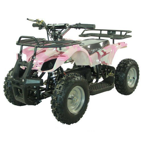 FamilyGoKarts Youth Electric Kids Quad Utility ATV for Children with Reverse - Pink Camo