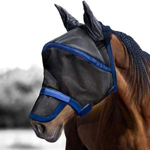 Harrison Howard Maskology Supreme Horse Fly Mask UV Protection for Horse Black Blue