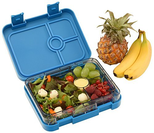 WonderEsque - Bento Lunch Box For Adults and Kids - Leak Proof Lunch Container - 4 Compartments – Non-Toxic BPA-Free Materials - Microwave-Safe Inner-Tray – Weight 1.2 LB (DARK BLUE)