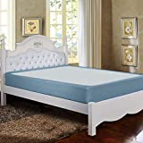 Twin Six Premium Bed Box Spring Cover, Queen Size, Update Bed Skirt, Mattress Protector Encasement, Smoke Blue