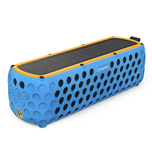 Solar Bluetooth Speaker, Dreamix 30 Hours Playtime IP65 Splashproof Portable Outdoor Wireless Silicone Dual Driver Bass Bluetooth 4.0 Speaker for Bike, Camping, Hiking - Blue