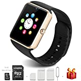 Bluetooth Smart Watch with 16GB Micro SD Card, Touch Screen Smartwatch for iPhone and Android Phones, Smart Watches with Camera and SIM Card is Supported (Gold)