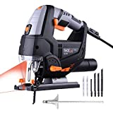 TACKLIFE Jigsaw, Advanced 6.7 Amp 3000 SPM Jig Saw with Laser & LED, 6 Blades, Carrying Case, Max Bevel Cutting Angle (-45°-45°), Variable Speed, Pure Copper Motor, 10 Feet Cord Length - PJS02A