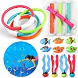 iBaseToy 20 PCS Diving Toys Swimming Pool Toys with Diving Rings, Diving Sticks, Pool Sinking Fish Seaweed & Pool Toy Storage - Under Water Treasures Gift, Best Pool Toys for Kids,Teens and Adults