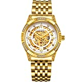 BINLUN Men's Gold Automatic Luxury Skeleton Watches Gift to Father