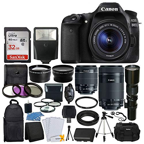 Canon EOS 80D DSLR Camera Body + Canon EF-S 18-55mm + Canon EF-S 55-250mm Lens & Telephoto 500mm f/8.0 (Long) + Wide Angle Lens + 58mm 2X Lens + Macro Filter Kit + 32GB Memory Card + Accessory Bundle
