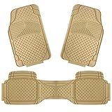 Copap 3pcs Rubber Floor Mats Universal Fit Mat for Car SUV Van & Trucks Front & Rear (Beige)