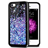 Caka iPhone 5/5S/SE Case, iPhone 5S Glitter Case Starry Night Series Bling Fashion Luxury Flowing Liquid Floating Sparkle Glitter Soft TPU Case for iPhone 5/5S/SE - (Blue Purple)