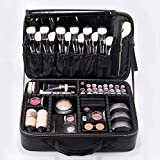 ROWNYEON Makeup Case Travel Makeup Bag Train Case Professional Portable Cosmetic Makeup Brushes Organizer Case Cosmetic Storage Bag for Women EVA Adjustable Dividers 14.1' Medium Black