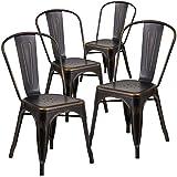 Flash Furniture 4 Pk. Distressed Copper Metal Indoor-Outdoor Stackable Chair