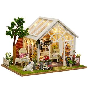 Toy Set DIY Wooden Dollhouse Miniature with Furniture, Sunshine Greenhouse DollHouse Kit Plus Dust Proof and Music Movement, for Creative Birthday Gift Early education supplies 51a tohZOLL