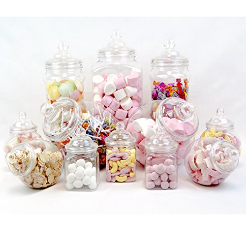 12 Jar Vintage Victorian Pick & Mix Sweet Shop Candy Buffet Kit Party Pack
