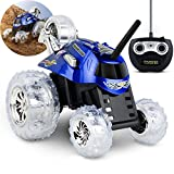 SHARPER IMAGE Thunder Tumbler Toy RC Car for Kids, Remote Control Monster Spinning Stunt Mini Truck for Girls and Boys, Racing Flips and Tricks with 5th Wheel, 27 MHz Blue