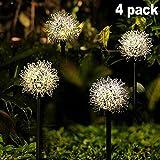 Solar Garden Light Outdoor, 4 Pack Warm White Solar Powered Decorative Stakes Night Lights with Dandelion Flower, LED Landscape Lighting for Garden/Yard/Lawn/Patio/Walkway/Driveway/Backyard