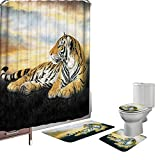 Amagical 16 Pieces Shower Curtain Set Bathroom Mats Set Non-Slip Rug Carpet Toilet Cover Shower Curtain with 12 Hooks Yellow Tiger Print