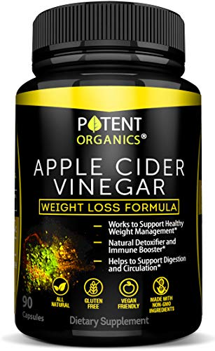 100% Organic Apple Cider Vinegar - 90 Capsules For Healthy Diet & Weight Loss- Pure, Raw, Vegan and Non-GMO - Helps Digestion - Made in USA - Add to Garcinia Cambogia and Your Diet Kits & Systems