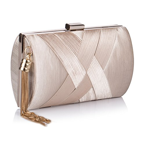 """91FnzX6TNKL FABRIC: The glamorous clutch handbags made from silk and satin,decorated with tassel on one side,the simple and dainty evening clutch reveal your noble temperament. SIZE: Approximate measurements- 6.69""""(L)*2.75""""(W)*4.13""""(H). FEATURES: Elegant tassel pendant handbags fit for is fit for all ages in dress nights,Weddings, fancy dates, events,business parties,shinning from the surrounding,available 4 stylish that can be used as a clutches bag, purse handbag, shoulder bags or cross-body bags."""