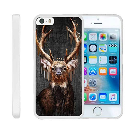 TurtleArmor | Compatible for Apple iPhone SE Case | iPhone 5/5s Case [Flexible Armor] Ultra Slim Compact Flexible TPU Case Fitted Soft Bumper Cover Animal Design - Painted Elk