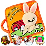 ToBe ReadyForLife Durable Cloth Book for Babies, Soft Baby Book, Toy for Infants, Boys & Girls with Crinkly Sounds, Cute Baby Shower Box, Touch and Feel, Peekaboo