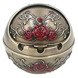 Honoro Windproof Ashtray with Lid for Outdoor and Indoor Use,Metal Portable Cigarette Ashtray with Gift Box,Ball Ashtray,Red Rose,Bronze